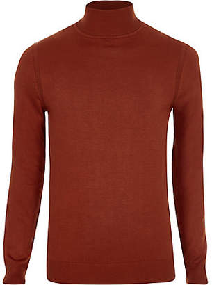 River Island Orange roll neck slim fit sweater