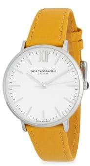 Bruno Magli Stainless Steel Water Resistant Slim Leather-Strap Watch