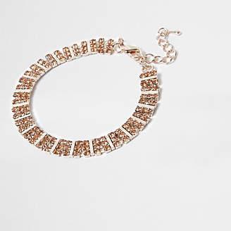 River Island Rose gold tone square rhinestone bracelet
