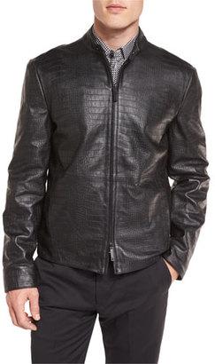 Armani Collezioni Crocodile-Embossed Leather Bomber Jacket, Black $2,095 thestylecure.com