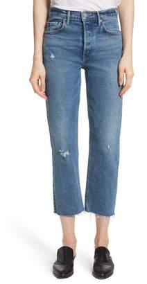 GRLFRND Helena Distressed Rigid High Waist Straight Jeans