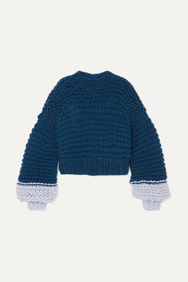 3129c6f8e9 The Knitter - Moon Face Cropped Two-tone Wool Sweater - Navy