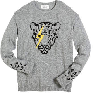 Autumn Cashmere Lightning Eye Leopard Crew-Neck Sweater, Size 6-16