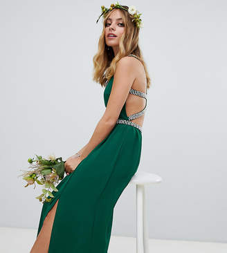 TFNC Petite embellished bridesmaids maxi dress in forest green