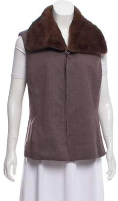 Lafayette 148 Fur-Trimmed Wool Vest