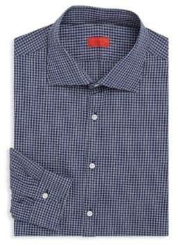 Isaia Regular-Fit Gingham Cotton Dress Shirt