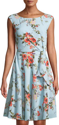 Tahari ASL Floral Faux-Wrap Sleeveless Dress