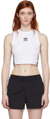 adidas White Cropped Tank Top