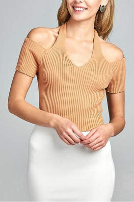 Minx Apricot Ribbed Top