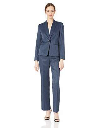 Le Suit Women's Plus Size 1 Button Notch Collar Melange Pant Suit