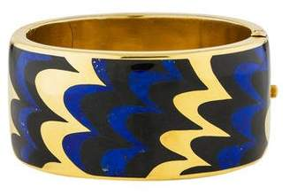 Tiffany & Co. 18K Lapis & Jade Hinged Bangle