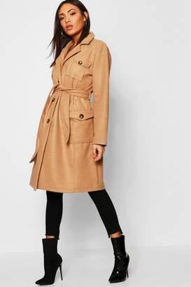 boohoo Pocket Detail Wool Look Coat