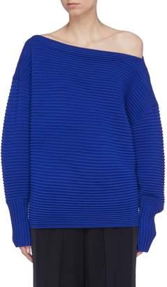 Victoria Beckham VICTORIA, Wool ottoman knit one-shoulder sweater