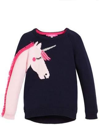 Joules Geegee Unicorn Intarsia Sweater, Size 2-6