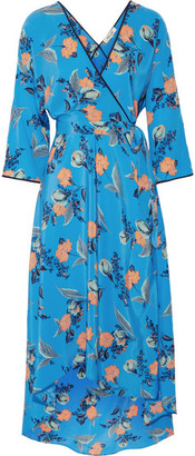 Diane von Furstenberg - Asymmetric Wrap-effect Floral-print Maxi Dress - Blue $530 thestylecure.com