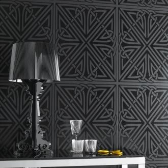 Graham And Brown Barbara Hulanicki Wallpaper - Viva Pattern - In Black Gloss
