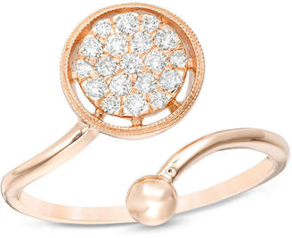 Zales 1/4 CT. T.W. Diamond and Ball Bypass Vintage-Style Adjustable Open Ring in 10K Rose Gold