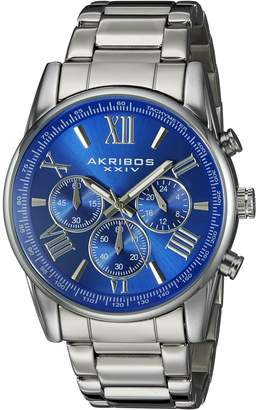 Akribos XXIV Men's Round Blue Dial Chronograph Quartz Bracelet Watch
