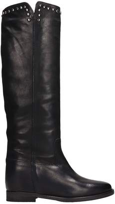 Julie Dee High Black Leather Boots