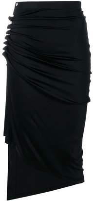 Paco Rabanne ruched asymmetric midi skirt