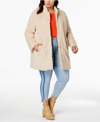 Kenneth Cole Plus Size Faux-Fur Teddy Coat