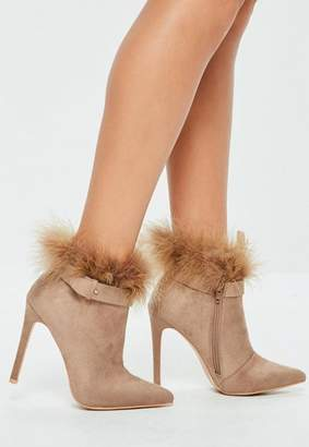 Missguided Tan Feather Trim Pointed Ankle Boots