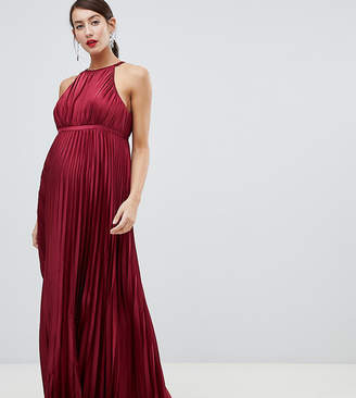 Chi Chi London Maternity high neck satin maxi dress in oxblood