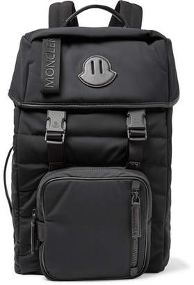 Moncler Logo-Webbing And Leather-Trimmed Quilted Nylon Backpack