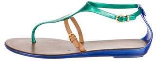 Sergio Rossi Rubber Ankle Strap Sandals