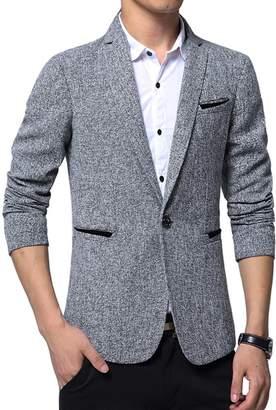 fb89f46c509 Benibos Mens Premium Casual One Button Blazer Slim Fit Coat Jacket (L