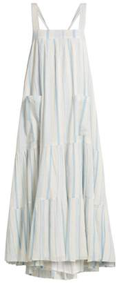 Apiece Apart Tiered Halter Neck Cotton Dress - Womens - Blue Stripe