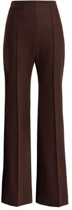 Kwaidan Editions - Wide Leg High Rise Wool Trousers - Womens - Dark Brown