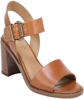 b6c8b3e5f4b Franco Sarto Brown Block Heel Women s Sandals - ShopStyle