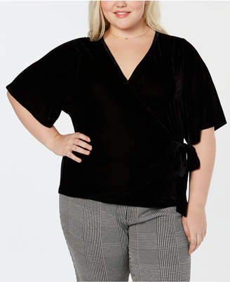 Soprano Trendy Plus Size Velvet Faux-Wrap Top