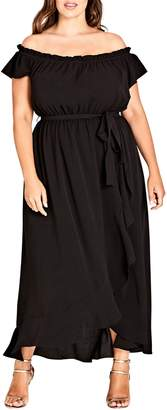 City Chic Ruffle Off the Shoulder Dress