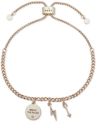 DKNY Gold-Tone Pave Break The Rules Slider Bracelet