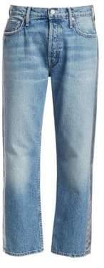 Mother Thrasher Loose Crop Metallic Stripe Jeans