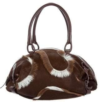 Salvatore Ferragamo Leather-Trimmed Fur Bag