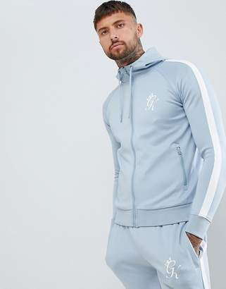 Gym King Muscle Poly Track Hoodie In Blue With Logo