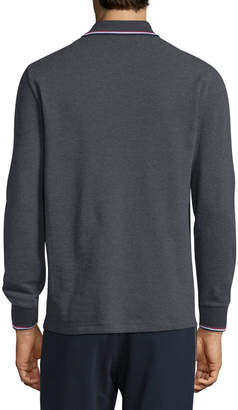 Moncler Tipped Long-Sleeve Polo Shirt
