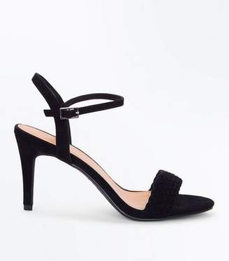 New Look Black Suedette Woven Strap Stiletto Heels