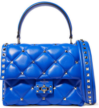 Valentino Garavani Candystud Quilted Leather Shoulder Bag - Bright blue