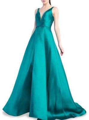 Mac Duggal Pleated V-Neck Ball Gown