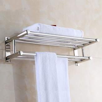 EECOO Stainless Steel Towel Rack Luxury Solid Polished Chrome Towel Rack Towel Wall Shelf Bathroom