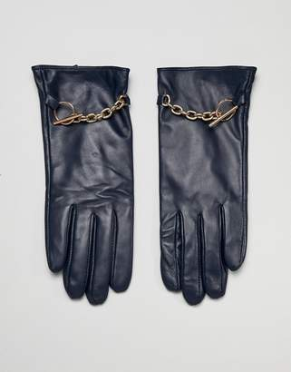 Barneys New York Barneys Originals Real Leather Gloves With Chain Detail