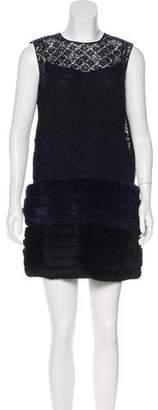 Louis Vuitton Fur-Trimmed Mini Dress