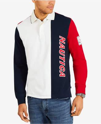 Nautica Men's Colorblocked Long-Sleeve Polo
