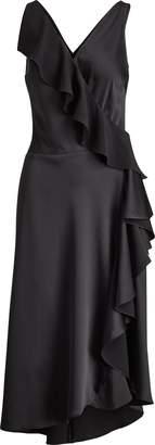 Ralph Lauren Ruffled Crepe Sleeveless Dress