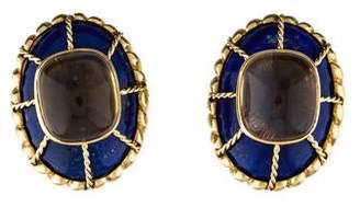Lapis Tony Duquette 18K & Citrine Clip-On Earrings
