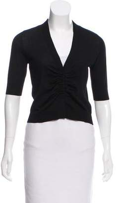 Akris Punto Ruched-Accented Short Sleeve Cardigan